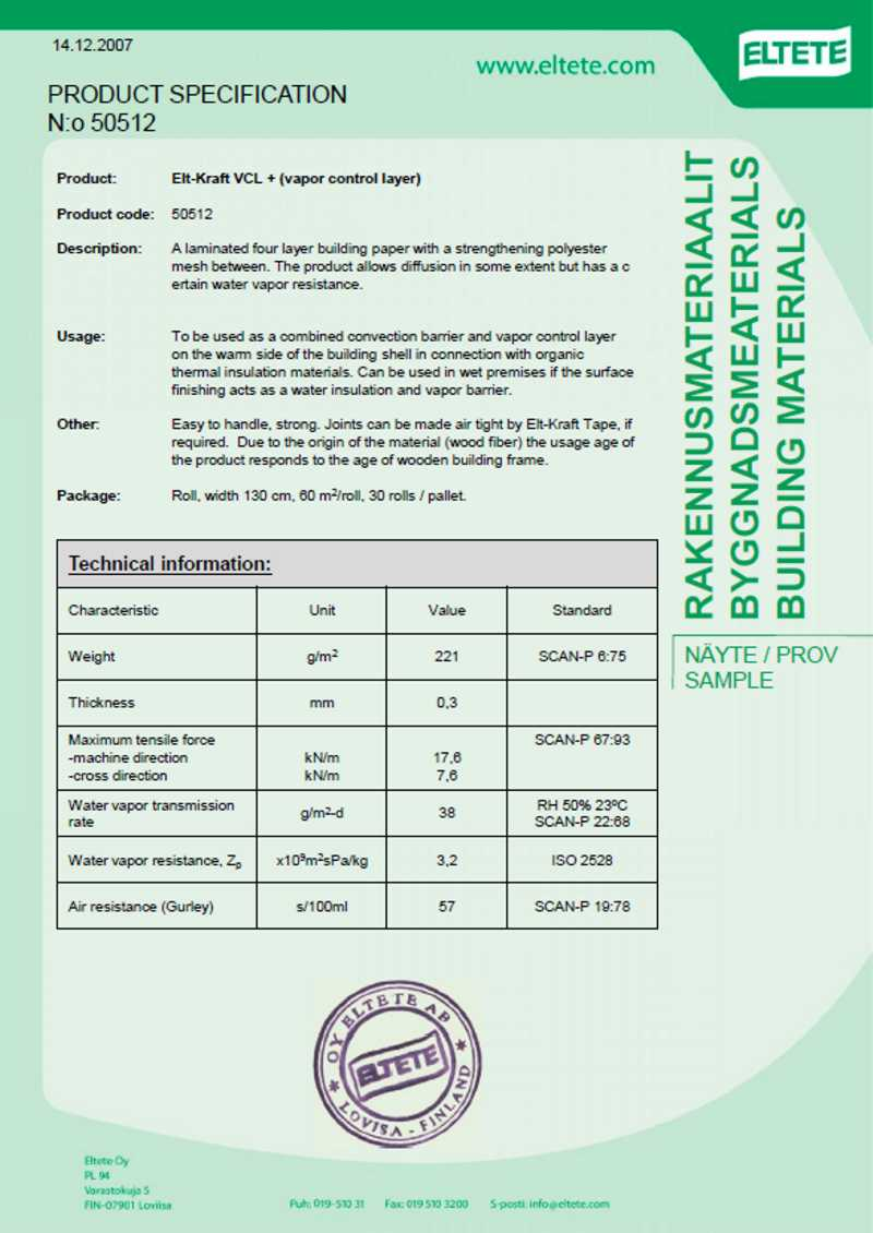 Elt Kraft data sheet